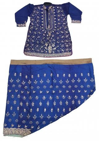 Ceremonial Chamba Costume(Kurta) With Trouser (Ejar) Set , From Himachal Pradesh, India. C.1900. Silk ground with Zari (Real Silver) embroidery. This Dress is showing Birds holding the fish with goddess holding a sword  ...
