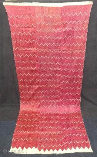 Thirma Phulkari From West(Pakistan)Punjab. India. Known As Wedding Thirma Bagh. Rare Influence of showing Lahariya Weave Design. c.1900. Its size is 110cmX250cm(DSC05690).
