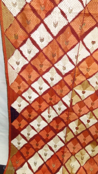 Phulkari From West(Pakistan)Punjab. India. Showing the Beautiful Floral Design With Change Colours in the Side. C.1900. Its size is 132cmX252cm.Floss silk on hand spun cotton ground cloth(DSC08495).