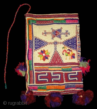 Embroidery Dowry Bag from Proper Chotila District of Saurashtra Gujarat India.Embroidery with wool on Cotton,From Rabari shepherd caste family.its size is 25cmX37cm(DSC03883 New).