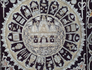 Jain Temple Hanging, Patan Gujarat, India. C.1900. Silver and gold gilt embroidery Cotton-Velvet. Its size is 77cmX123cm.    This a holy piece, showing the Sun and Moon with twenty different marks  ...