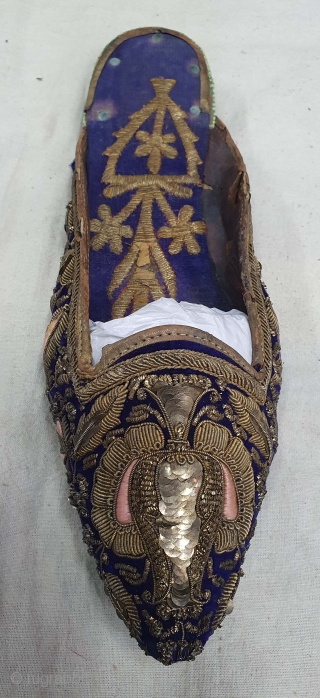 Pair of slippers for Women's a Zardozi embroidery on the cotton Velvet. From Lucknow Uttar Pradesh India. India.19th Century (20201112_160019).