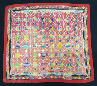 Soof Embroidery,Dowry Cloth. Cotton with silk embroidery and mirrors. From Marao,Mirpurkhas,Tharparkar Region Of Sindh Pakistan. India.C.1900.Belongs to suthar group.Its size is 52cmX57cm(20171212_143753 New)
