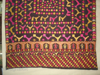 Figurative folk Phulkari From East(Punjab), India.Showing the Folk Art of Punjab.C.1900.(DSC06604 New).