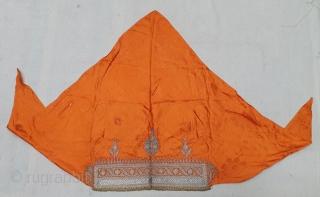 Sikh Community Head Cover (Musser) Real Zari (silver) embroidery on Mashru (Gajji Silk), From West Punjab Region of Undivided India. IndiaC.1900 (20191218_155621).
