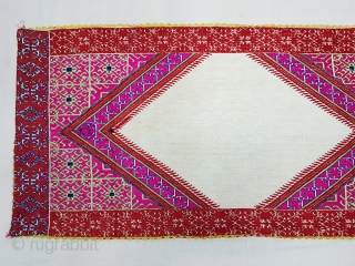 Pillow-Cover,Swat Valley(Pakistan). India.Cotton embroidered with floss silk.C.1900.Its size is 39cmx82cm(20171229_155457 New).