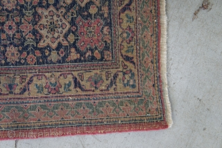 "Ca 1920 Indian copy of a Tabriz, 9' x 14'7"". It has good thick pile, bright shining wool, a fine weave and NO problems. Complete ends and edges. Clean and ready for  ..."