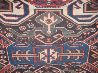 This stunning late 19thC. Karabagh features a most desireable Lenkoran design and a main border not usually seen in such fine quality weave and careful drawing on a large rug. The colors  ...