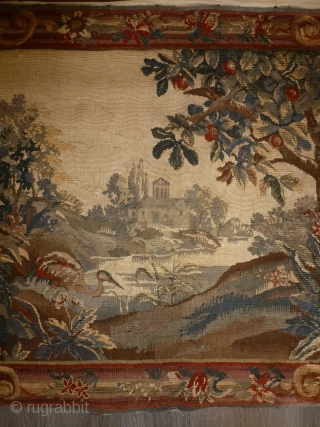 Very Unusual Tapestry Aubusson, as an sample,  2nd period 19 century, wool & silk, perfect condition, 112 x 93. 