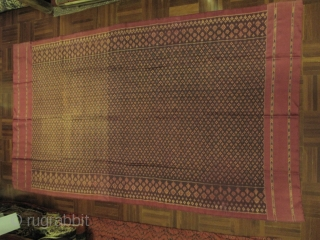 A weft ikat silk skirt cloth from Northeastern part of Thailand with centerfield of small diamond pattern. 4 sided frame indicates strong influence from Cambodian skirt cloth in terms of form and  ...