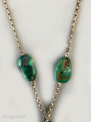 Antique Tibetan turquoise designed necklace on 14K gold chain . designed in the 60's so necklace is vintage using antique beads.