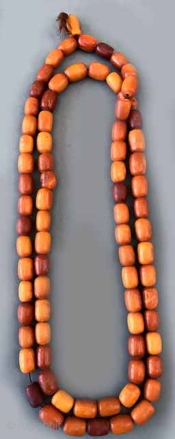 Original antique  Syrian  prayer beads with perfectly sized  butterscotch yellow amber. 195 grms.