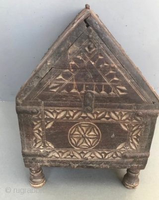 Early wood carved box from India with nice early hinges chip carving 19th c or earlier
