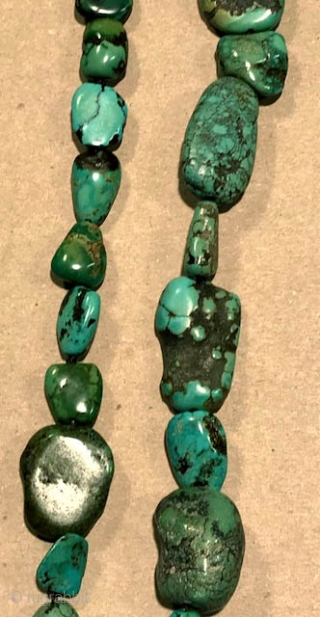 "Turquoise necklace of 22"" long matrix style from Tibet with really nice old beads ."