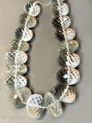 Rock crystal faceted large bead necklace from India