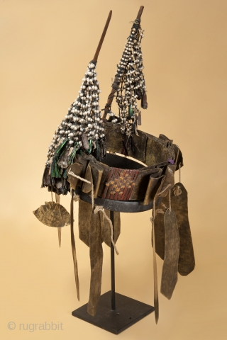 Very rare headdress of woven rattan , brass, jobs tears, mussel shells from Northern India Mizoram border with Nagaland. Similar piece published in Julian Jacobs book on the Nagas. early 20th c  ...