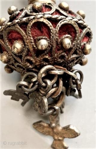 Pair of gilt silver earrings from Salmanca Spain lt 19th/ early 20th c