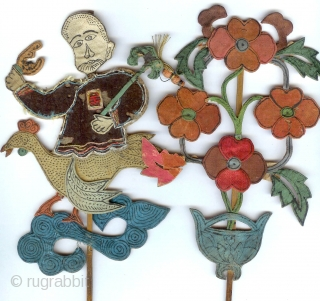 appliqued silk figural group used as alter ornaments and standing along with incense sticks, embroidery , padding late Ching period Sold as group