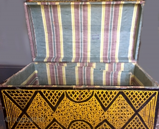 Metal Afghan chest with strips of woven metal , painted, used in the trucks that  were painted and made famous in several books about their artful decoration. This was used to  ...