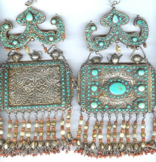 Pair of micro mosaic inlaid Koran containers , silver, mother of pearl, coral from Uzbekistan , Khiva area of Khorizm. late 19th c