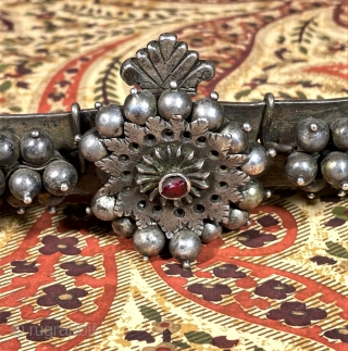 High quality silver south Indian adjustable belt. late 19th c South India