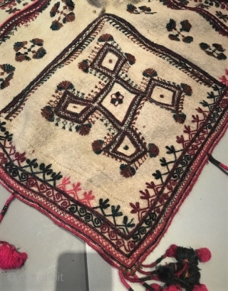 Wool embroidered large hooded  headdress from upper Chitral region. (old collection piece)