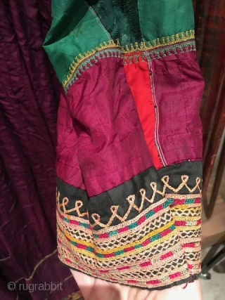 Antique dress of silk with Lakai style embroidery , probably used or worn by Uzbek living in Afghanistan. Early 20th c