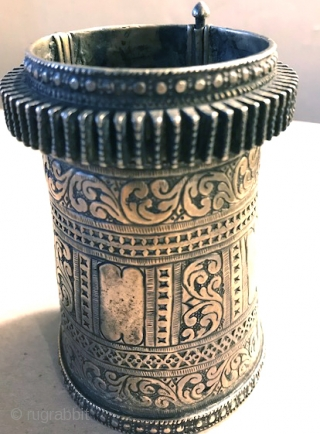 Silver cuff from North Afghanistan, very good silver nice old one unusual engraved design.