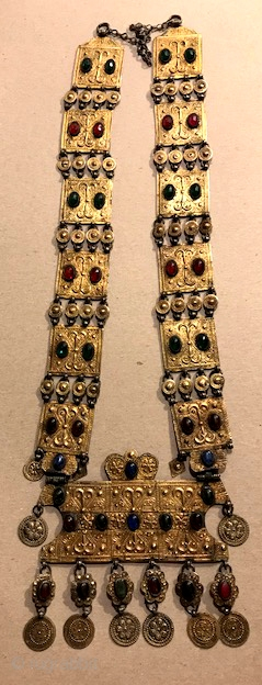 Gilt silver Yomud necklace with glass stones