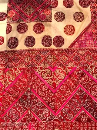 "Large Hazara embroidery textile with white ground measuring 44 x 90"""