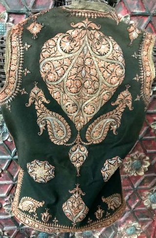 Indian wool felted vest with gold embroidery probably from Kashmir. Possibly 18th c/early 19th.