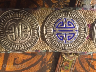 Original silver and enamel belt from Mongolia circa 1930's.