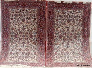RARE VERY FINE PAIR OF OLD KESHAN RUGS dating from the mid 20th century. The condition of both is impeccable and original. Centuries old classic Persian designs of lilies, rows of carnations  ...