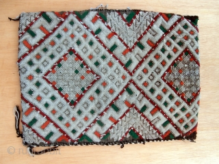 MOROCCAN BERBER PILLOW/BAG. It is difficult to say which is the more beautiful side of this bag, the front or the back. It is from the region of Zemmour in the western  ...
