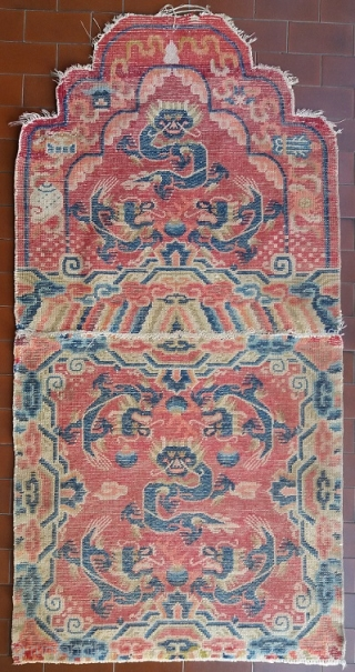 Old Chinese top quality double rug for a high lama's throne (the seat and back have been sewn together), circa 70 by 70 cm for the seat (142 cm is the total  ...
