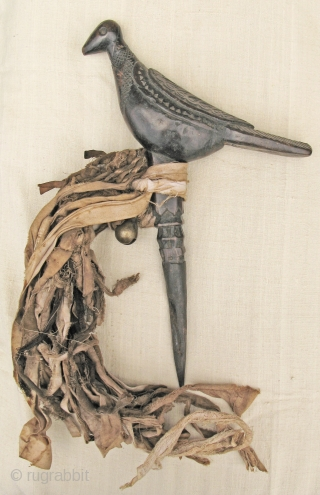 3 Nepali phurba (ritual objects) with bird head. Carved wood and metal. Length 33,36 and 47cm. Age c. 100 years old.