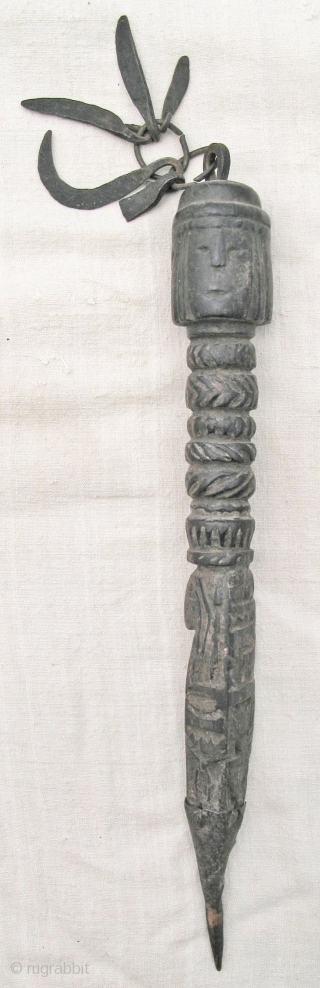 3 Nepali wooden phurba (ritual object) with metal, length 33, 31 and 29cm. Age c. 100 years.