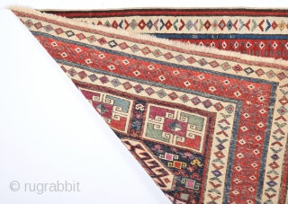 19th Century Caucasian Gendje Rug It's ın Really Good Condition And Untouched One.Size 91 x 197 Cm