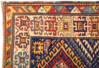 19th Century Really Colorful Unusual Caucasian Rug With Perfect Condition Size 115 x 275 Cm