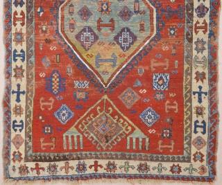 Early 19th Century Kurdish rug size 103 x 150 ıt has nice unusual border.