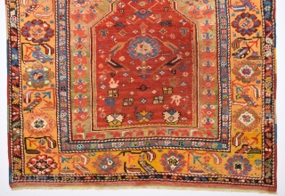 Early 19th Century Central Anatolian Konya Prayer Rug It Has Good Pıle And Good Square Size 120 x 120 Cm
