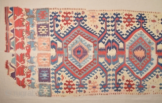 Early 19th Century  Anatolian Collectible Konya Kilim Fragment Is Has Great Colors Size 112 x 325 Cm