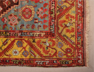 Early 19th Century West Anatolian Kula Rug It has a rare large size approximately 232 by 172 cm; 7ft. 7in., 5ft. 8in.