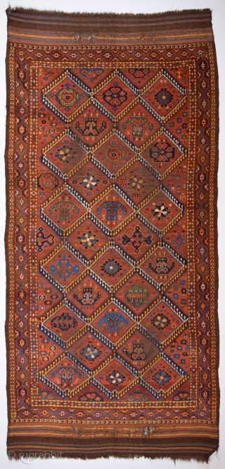 19th Century Unusual Beshir With Great Ikat Design.Untouched One.Completely Original.Size 135 x 250 Cm