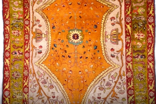 Late 19th Century Turkish Probably Sivas An Unusual Silk Rug Size 138 x 200 cm