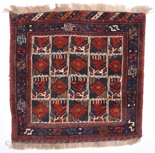 19th Century Square Size Persian Avshar Bag.It Has Good Pile And Untocuhed One.Size 75 x 75 Cm.
