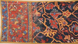 Unusual Early 17th Century Ushak Fragment Has Great Powerfull Colors Size 47 x 105 cm