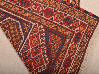 Early 20th Century Anatolian Çanakkale lovely small piece This pretty little rug was woven in Bergama, a village situated. The design of the two large crosses decorated with arrows and four triangles  ...