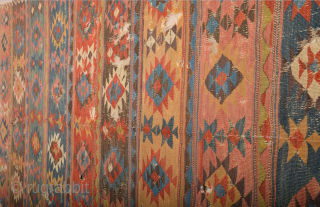19th Century lovely colorful Shahsevan kilim. It has great colors they are all natural and deep great colors. Good condition we can say ıt has some holes you can see condition easily  ...