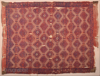This red-ground Yüncü kilim featuring a deep blue field design of three geometric, stylised trees and a narrow border echoing the shapes of the trees is a visual masterpiece. The reduction to  ...